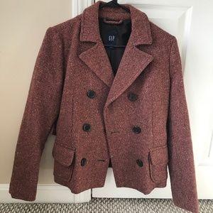 Gap Women's Size 6 Wool Blend Jacket Peacoat Blaze